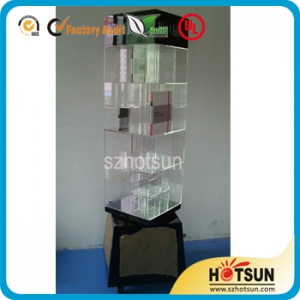 acrylic rotate book shelf holder
