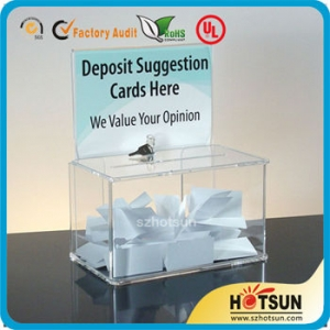 acrylic suggestion box with brochure holder factory price