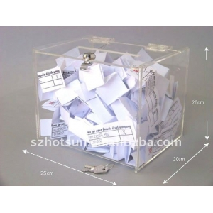 creative design large acrylic ballot box / suggestion box with brochure holder factory supply