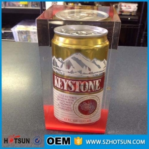 custom clear acrylic beer can display stand inside of clear paper weight