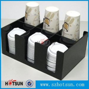 customized acrylic coffee cup dispensers holder coffee condiment organizer for coffee shop