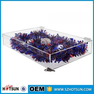 customized size acrylic display clear storage box with lid, clear display case with lock