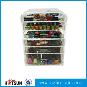 hard plastic acrylic box with drawers for organizing makeup display