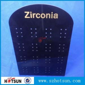 hot bending perspex black earring display with customized logo