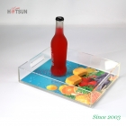 China Custom 8.5x11 Inches Insert Serving Tray UV Printing Logo Clear Acrylic Serving Tray with Handle factory