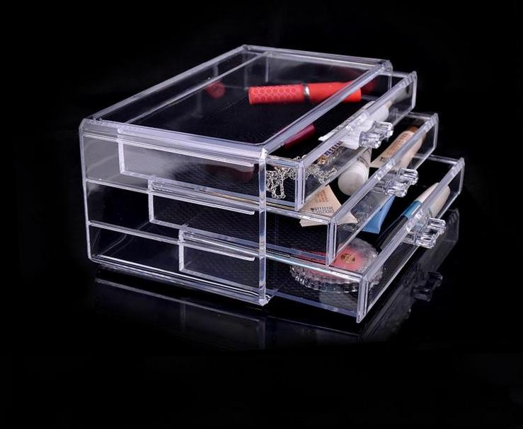 Acrylic Jewelry Box With 3 Drawer Clear Acrylic Cosmetics