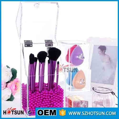 acrylic makeup brush holder with lid acrylic brush organizer brush display stand with 3 drawers. Black Bedroom Furniture Sets. Home Design Ideas
