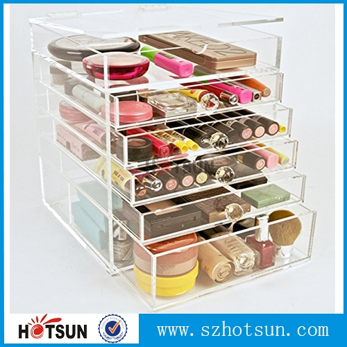 China suppliers cosmetic 5 drawer acrylic makeup organizer Storage with Drawers