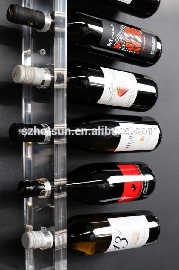 Popular Wall Mounted Acrylic Wine Bottle Display Champagne